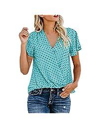 AIEason Tops Casuales de Mujer Blusa Informal Mujer Camisa Mangas Cortas Verano Chaleco Mujer Largo Talla Grande
