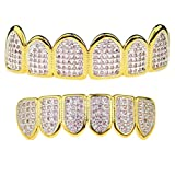 Premium Pink CZ Grillz Set 2-Tone 14K Gold Plated WIth Silver Finish Top & Bottom Bling Teeth Hip Hop Grills