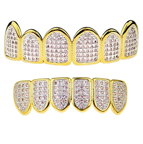 Premium Pink CZ Grillz Set 2-Tone 14K Gold Plated WIth Silver Finish Top & Bottom Bling Teeth Hip Hop Grills by Bling Cartel (Image #5)