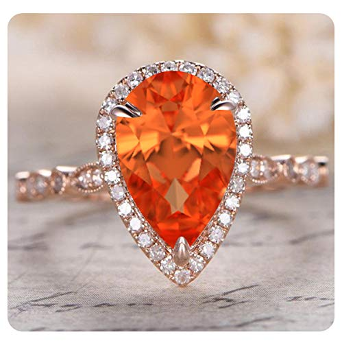RUDRAFASHION 9x13mm Pear Cut Created Orange Sapphire & White Diamond 14k Rose Gold .925 Sterling Silver Engagement Halo Ring for Women's