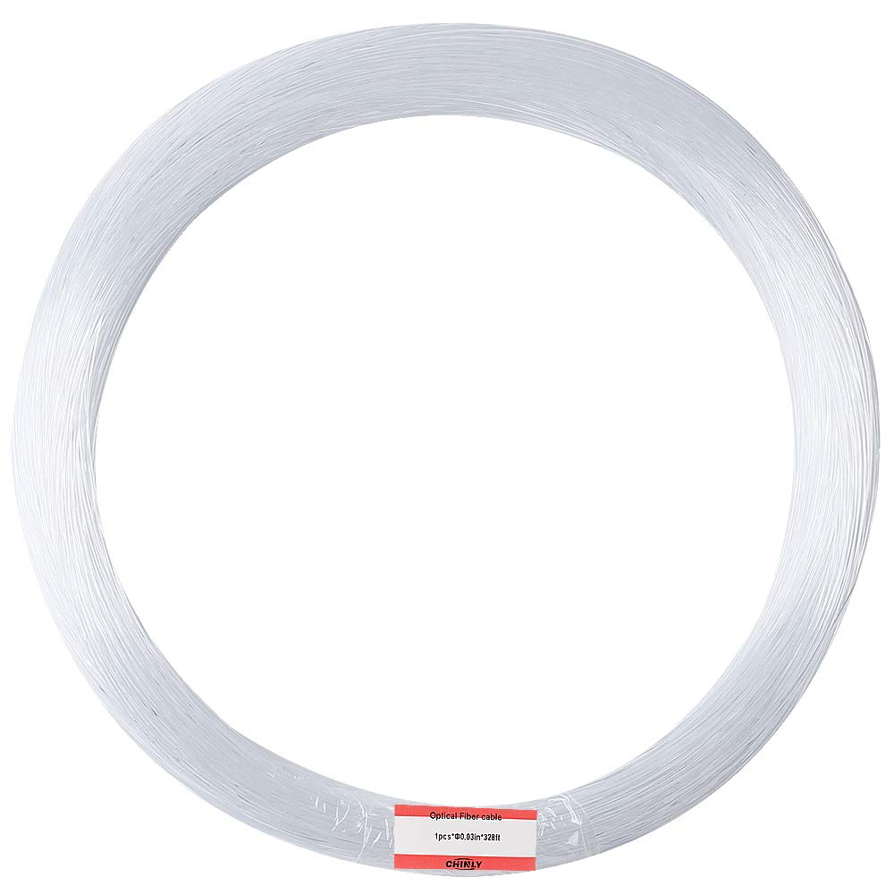 CHINLY 0.03in(0.75mm) 328ft(100M)/roll PMMA plastic end glow fiber optic cable for star sky ceiling all kind led light engine driver