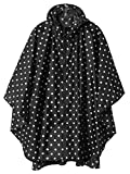Women Rain Poncho Hooded Outdoor Rain Coat with Pockets Black Point