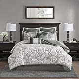 Extra Wide King Size Bedding Madison Park Odette 8 Piece Jacquard Bedding Comforter Set with Damask Stria, King Size, Silver