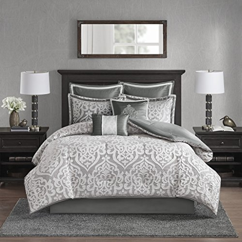 (Madison Park Odette Comforter Solid Jacquard Damask Medallion On Satin Striped Ultra Soft Down Alternative Hypoallergenic Microfiber Reverse All Season Bedding-Set, Cal King, Silver)