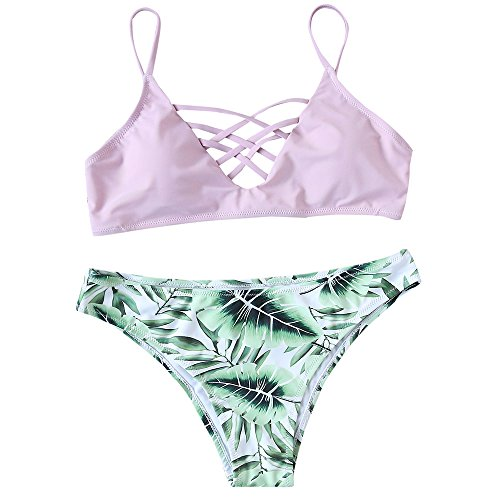 SweatyRocks Women's Bikini Set Leaf Print Criss Cross Bathing Suit, Pink, - Women Swimsuits For