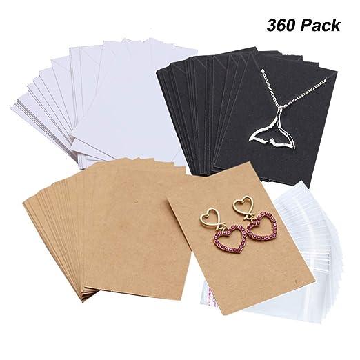 Amajoy 360 Piezas Collar Pendientes Exhibidor Tarjetas con ...