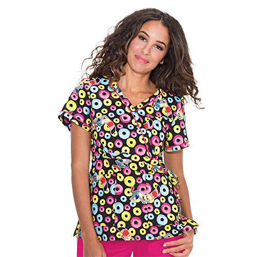 koi-by-kelloggs-womens-kathryn-mock-wrap-froot-loops-print-scrub-top-x-small-print