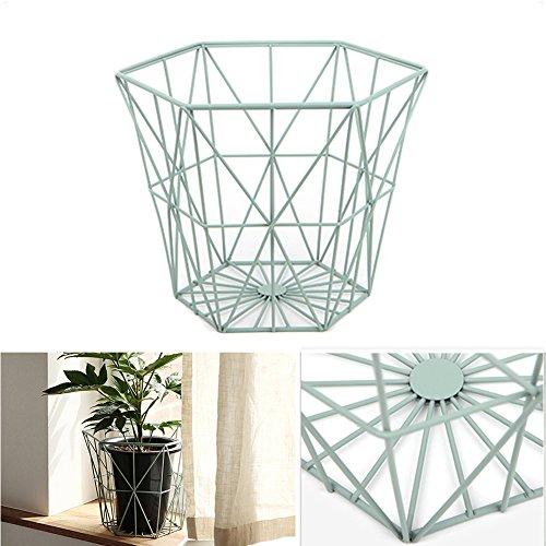 Metal Wire Basket Diamond Storage Display Rack Kitchen Desk Organizer Side Table Deco 2Type (Mint)