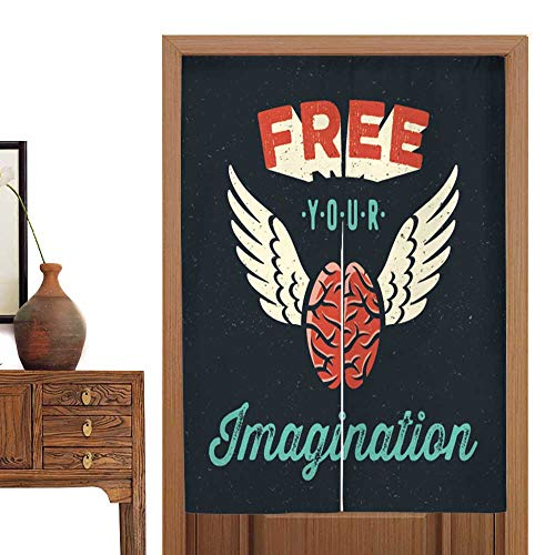 vanfan Linen Cotton Door Curtain Free Your Imagination tee Shirt Apparel Print Poster Design Fly Brain icon Doorway Curtain Tapestry33.5 Wx59 L