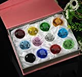 #7: Duosuny Mother's Day Special: 30mm Glass Diamond Paperweight Birthstone Table Decorations (12pcs)