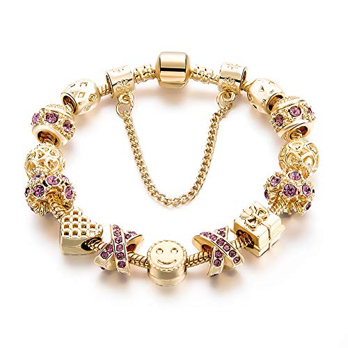 Gold Tone Bracelet Snake Chain Heart Smiley Beaded Charm Bracelets Rhinestone Bangles for Women Teen Girls