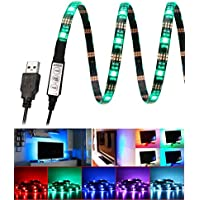E-More Bias Lighting for HDTV Multi Color RGB LED Strip USB TV Backlighting Home Theater Accent lighting 35.4 Led Strip Light Indoor Home Decoration(Reduce eye fatigue and increase image clarity)