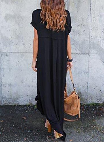 Achicgirl Neck Women's Sleeve V Side Maxi Slit Black Loose Fit Short Dress rqRCrEw