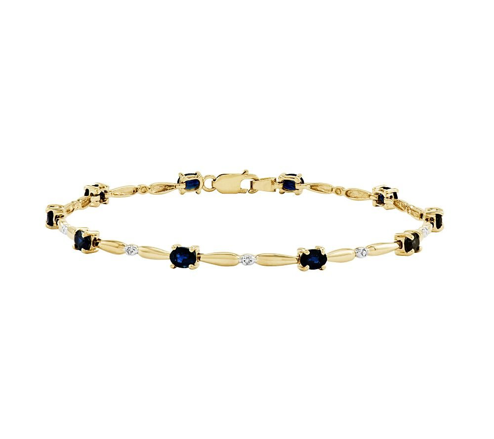 2heart 2.20 Ct Oval Sapphire w/ CZ Diamond Accent Tennis Bracelet, 14K Yellow Gold Plated