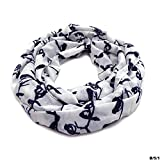Handmade Cotton Blend Scarf Bird Print Black and White Loop Circle Neck Stole