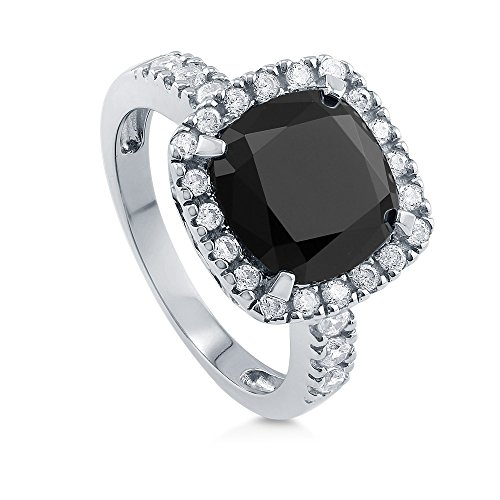 BERRICLE Rhodium Plated Sterling Silver Black Cushion Cut Cubic Zirconia CZ Statement Halo Cocktail Fashion Right Hand Ring Size ()