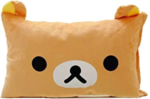 Lesley Ye Rilakkuma Relax Bear Brown Pillow Cover Cushion Case, Decorative Cushion Covers, Soft Plush Shaggy Throw Pillow Case Hidden Zip Closure for Bed Sofa Couch - Filling Not Included