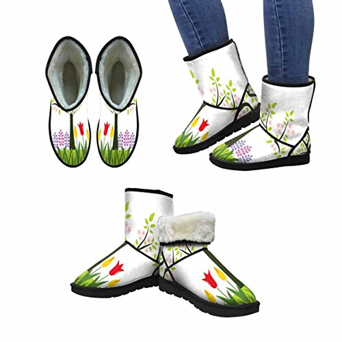Interestprint Mujeres Snow Botas Flores De Primavera Y Árbol De Floración Unique Designed Comfort Winter Botas Multi 1