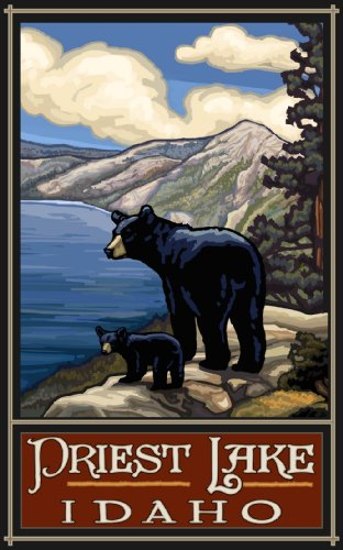 Northwest Art Mall Priest Lake Idaho Black Bear and Cub Painting by Paul A Lanquist, 11-Inch by - Black Lake Mall