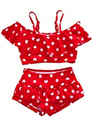 Baby Girl Cute Swimsuits Red 2 Pieces White Dot Skirt Swimwear Sets e1ec95e31b7