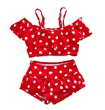 Baby Girl Cute Swimsuits Red 2 Pieces White Dot Skirt Swimwear Sets (Large, Red)