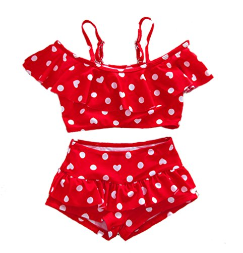 Baby Girl Cute Swimsuits Red 2 Pieces White Dot Skirt Swimwear Sets (XX-Large, Red)