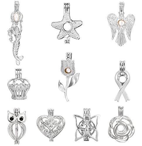 Pearl Flower Charm (10pcs Stainless Steel Tones Mermaid Heart Angel Starfish Owl Flower Locket Add Your Own Beads Stones Pearl Wish Cage Perfume Essential Oils Fragrance Diffusing Necklace Pendant Charms)