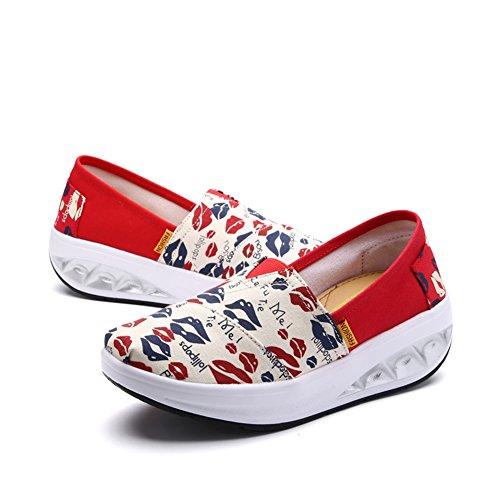 de Zapatos Nuevo mujer lona Slip aumento Spring Casual de Segundo de de mujer altura SHINIK Zapato Zapatos Zapatos Shake Cloth On de Fall w7nzY