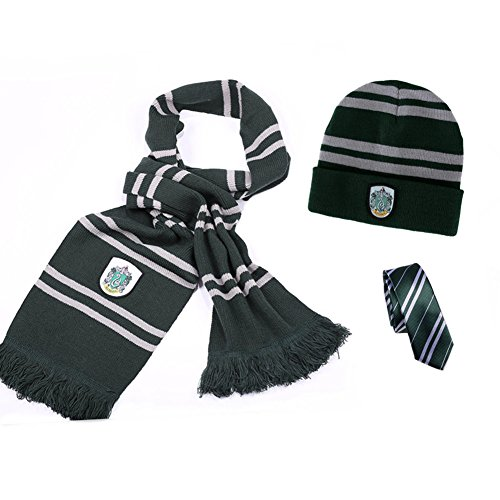 Harry Potter Gryffindor-Hufflepuff-Ravenclaw-Slytherin House Scarf + Tie + Hat/Cap Costumes Accessories Cosplay (Green-Slytherin)