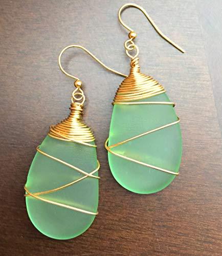 (Sea Glass Earrings Handmade Green Sea Glass Jewelry Beach Glass Earrings Wire Wrapped Peridot Frosted Glass Sea Glass Gold Wire)