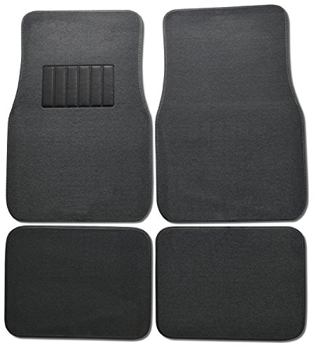BDK Classic Carpet Floor Mats for Car & Auto - Universal Fit -Front & Rear with  Heelpad (Charcoal) University Front Car Mat