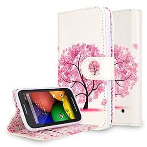 Moto E LTE (2nd Generation, 2015) Case, NageBee - Moto E 2nd Design Dual-Use Flip PU Leather Fold Wallet Pouch Case case Premium Leather Wallet Flip Case for Moto E LTE 2nd Generation, 2015 (Wallet Butterfly tree)