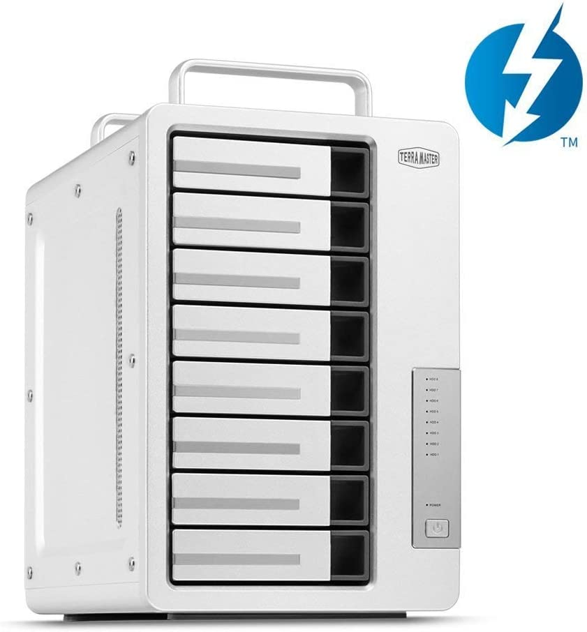 TerraMaster D8 Thunderbolt 3 Professional-Grade 8-Bay External Hard Drive Enclosure RAID 0/RAID1/RAID5/RAID10/JBOD Hard Disk RAID Storage (Diskless)