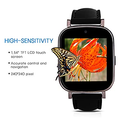 Hiwatch Bluetooth Android Smart Watch Phone Watch with 8GB Micro SD Card, Black Frame (not Including SIM Card)