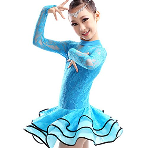 [New Girls' Party Dancing Dress Latin Costume long sleeve Lace,110cm-120cm,Blue] (Childrens Salsa Costumes)