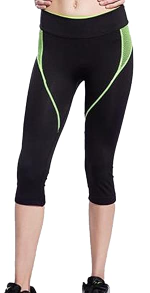 Comfy Womens Knee Length Stretch Sport Pant Yoga Pants Green XS