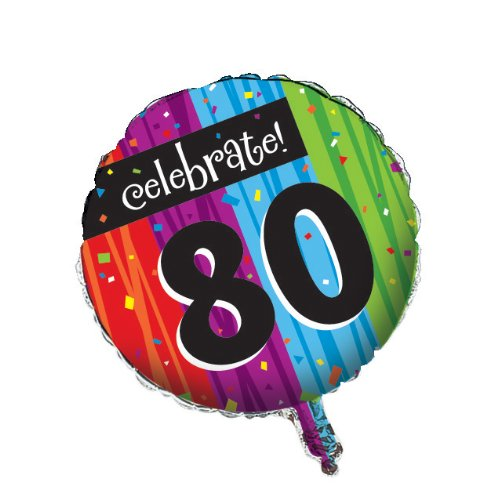 Creative Converting Party Decoration Round Metallic Balloon, Milestone Celebrations 80th -