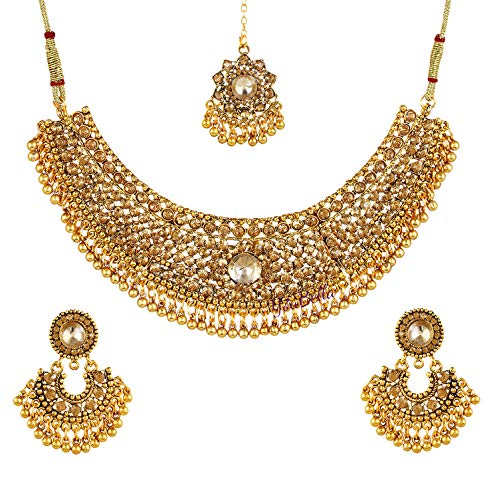 (YouBella Jewellery Bollywood Ethnic Gold Plated Traditional Indian Necklace Set with Earrings for Women)