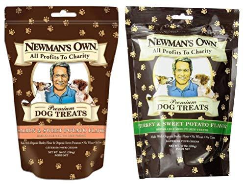 Newman's Own Organic Breakable Medium Dog Treats 2 Flavor Variety Bundle: (1) Newman' Own Turkey & Sweet Potato, and (1) Newman's Own Salmon & Sweet Potato, 10 Oz. Ea. (2 Bags Total) (Organic Treats Potato Dog Sweet)