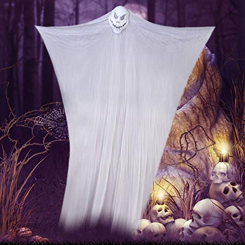 Eanpet Halloween Prop Hanging Ghost Halloween Party Scary Decorations Skeleton Flying Ghost Spooky Ornaments Decor for Home Outdoor Indoor Yard Party Bar Tree Window(White) -