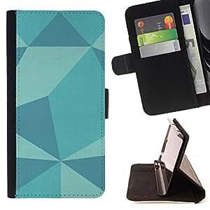 BullDog Case - FOR/HTC DESIRE 816 / - / polygon pattern teal blue pattern art /- Monedero de cuero de la PU Llevar cubierta de la caja con el ID Credit Card Slots Flip funda de cuer