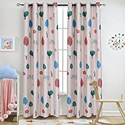 "Melodieux Cartoon Trees Room Darkening Blackout Grommet Top Curtain/Drapes for Kids Room, 52"" Wx84 L 1 Panel"
