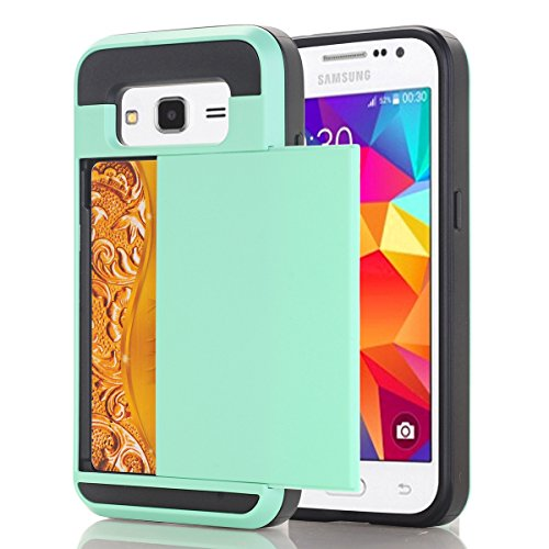 Samsung Galaxy Core Prime G360F Funda, adorehouse Billetera Estuche Case [Anti Scratch] [Heavy Duty] [Ranura para tarjetas] Dual Layer Hybrid Rubber Bumper Funda protectora para Samsung Galaxy Core Pr Menta Verde