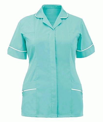 9954807e0e11a Nurses Tunic Uniform Vet Medical Dental Dentist Healthcare Hospitality Maid  House Work Wear Top Uniform (Mint, 16): Amazon.co.uk: Kitchen & Home