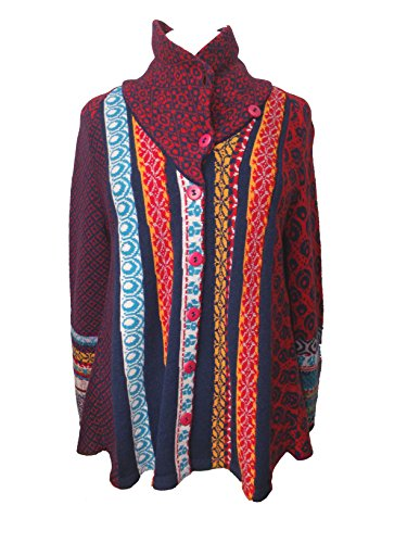 IVKO Short Lambswool Jacket wth Geometric Pattern, Front Button Closure, Blue/Red, US 8 - EUR 38 by IVKO