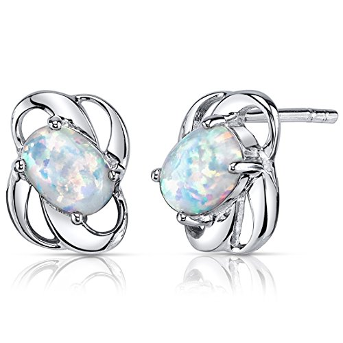 Created Opal Earrings Sterling Silver Oval Shape 1.50 (1.50 Carats Oval Shape)