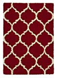 Sweet Home Stores Cozy Shag Collection Red White
