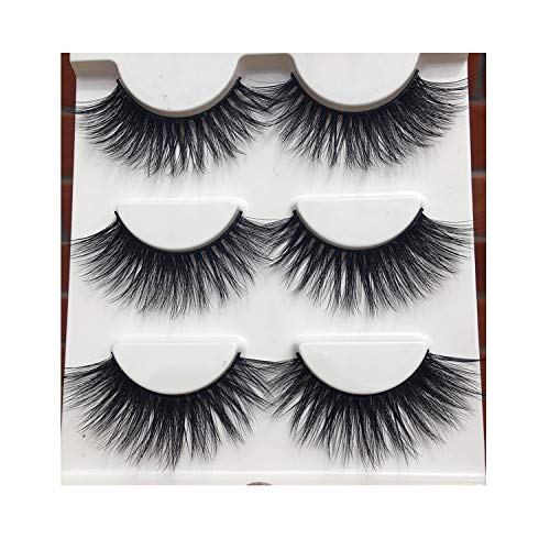 (011 Cotton Stitch 3D False Eyelashes Cross Winged Nature Long Fake Eyelashes,1 Box 3 Pairs)