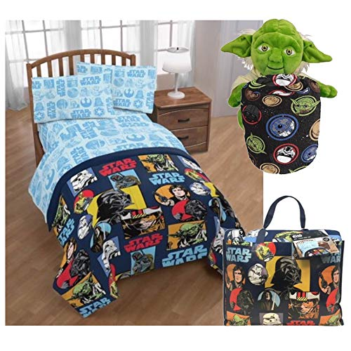 (Disney Star Wars Twin Bedding Set with Yoda Pillow Buddy and Throw Blanket)