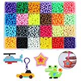 Outgeek Fuse Beads, 24 Colors 3600 Beads Refill Compatible with Aquabeads and Beados Magic Water Sticky Beads Art Crafts Toys for Kids Beginners